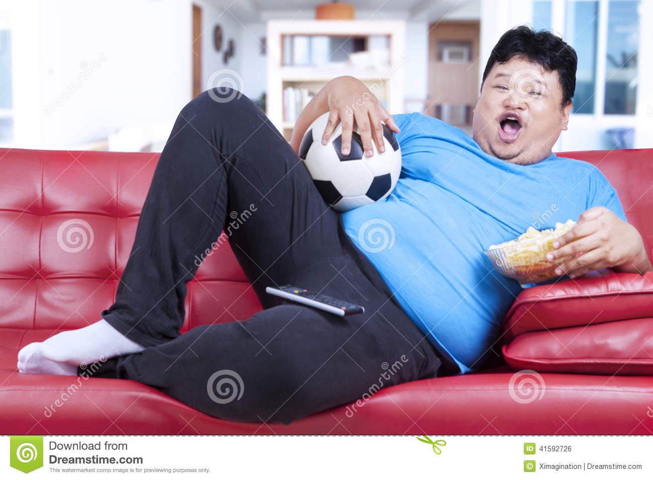 Fat Mant Watching Soccer Match On Tv Stock Photo - Image: 41592726