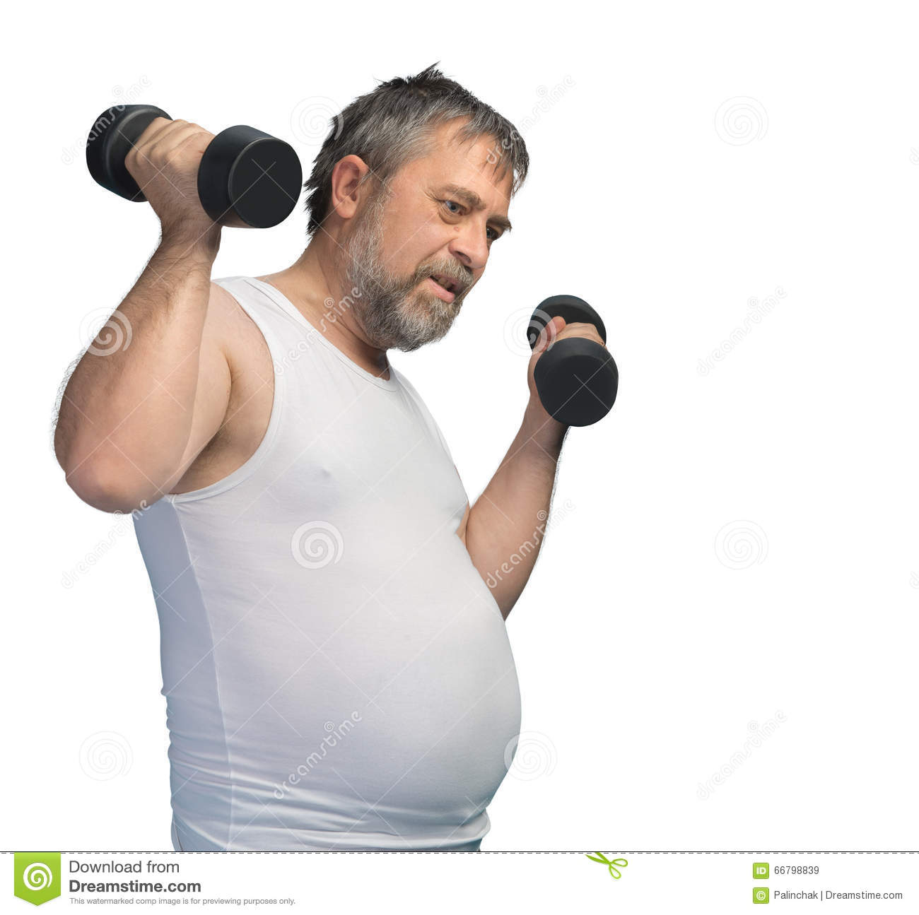 Fat Middle-aged Man Exercising With Dumbbells Stock Photo