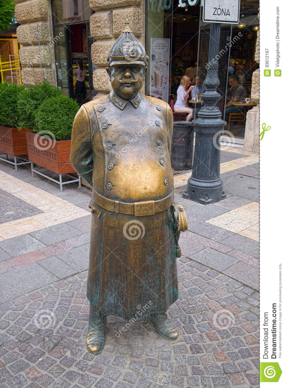 The Fat Policeman Statue in Budapest, Hungary
