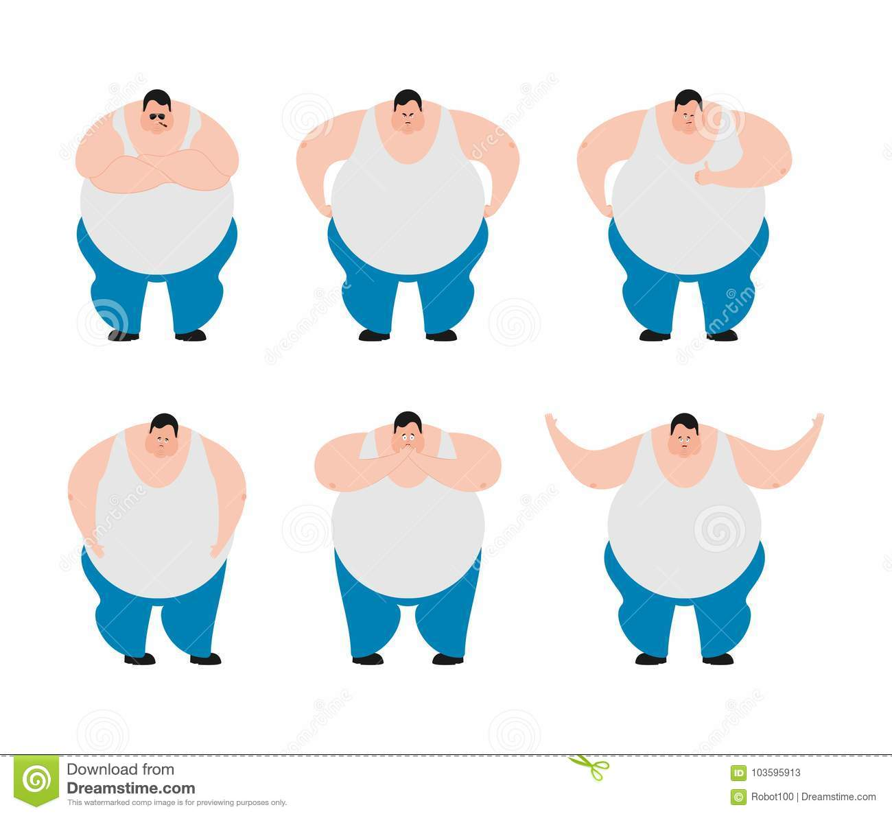 Cartoon Of Overweight Man Sleeping