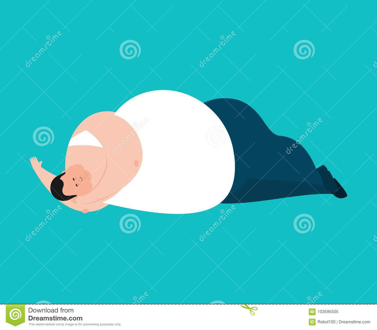 Fat Guy Laying On The Couch Royalty Free Stock Image