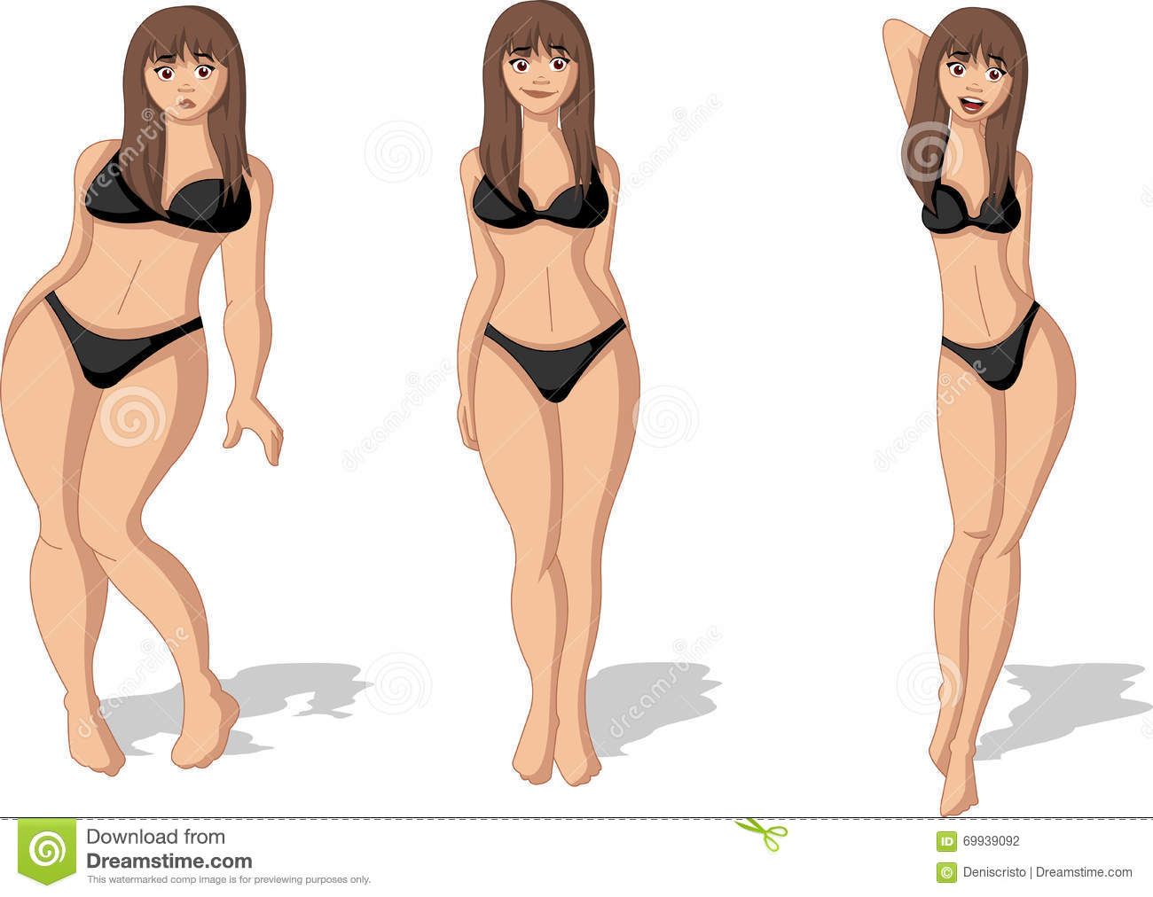 Fat and slim woman figure. stock vector. Image of exercise ...