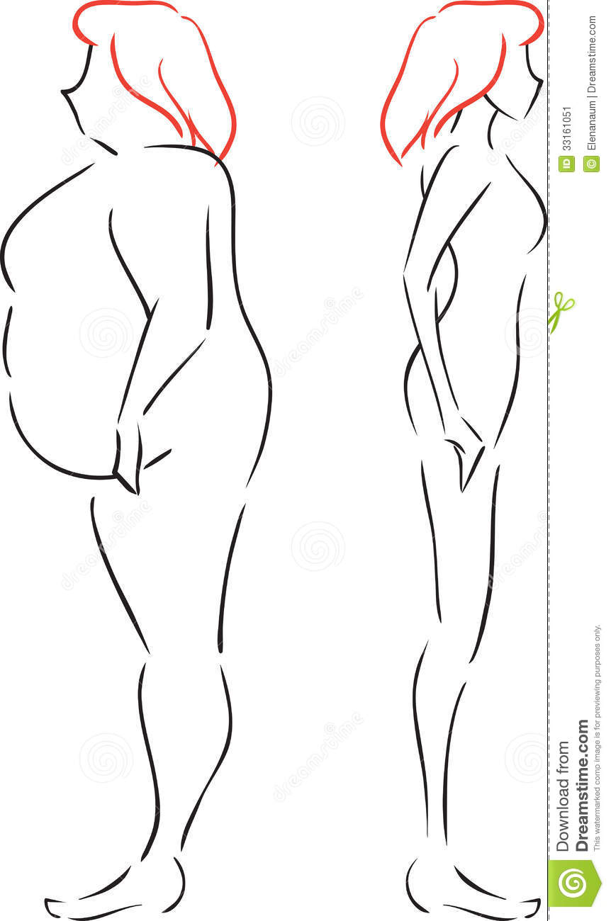 fat and thin women stock image