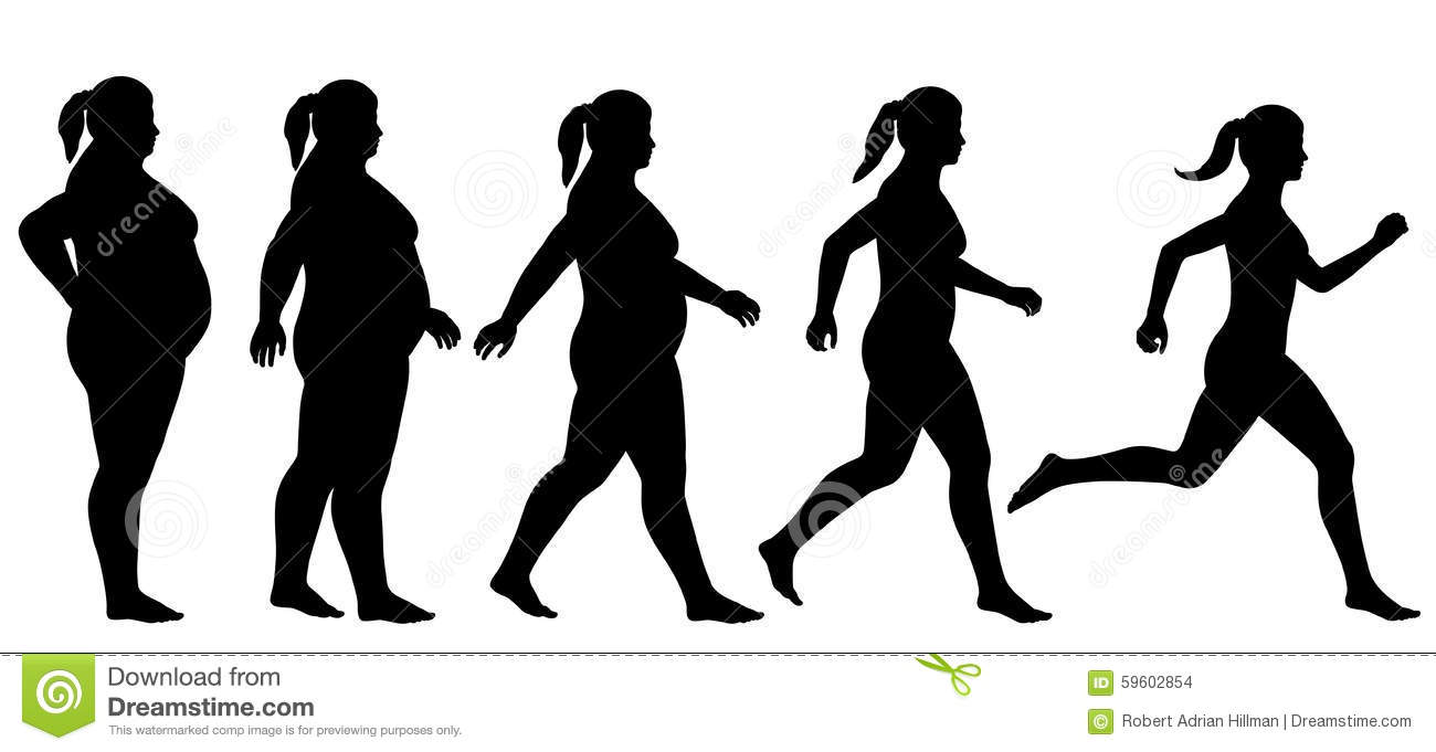 ... vector silhouette sequence of a woman exercising to lose weight