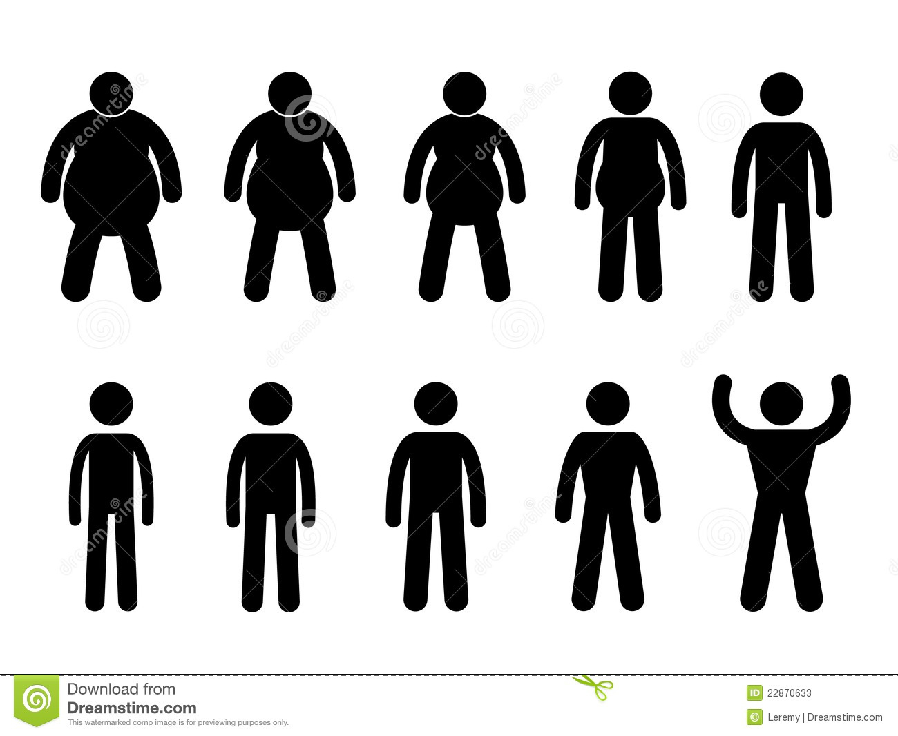 set of pictogram representing the process from fat to thin and slim ...