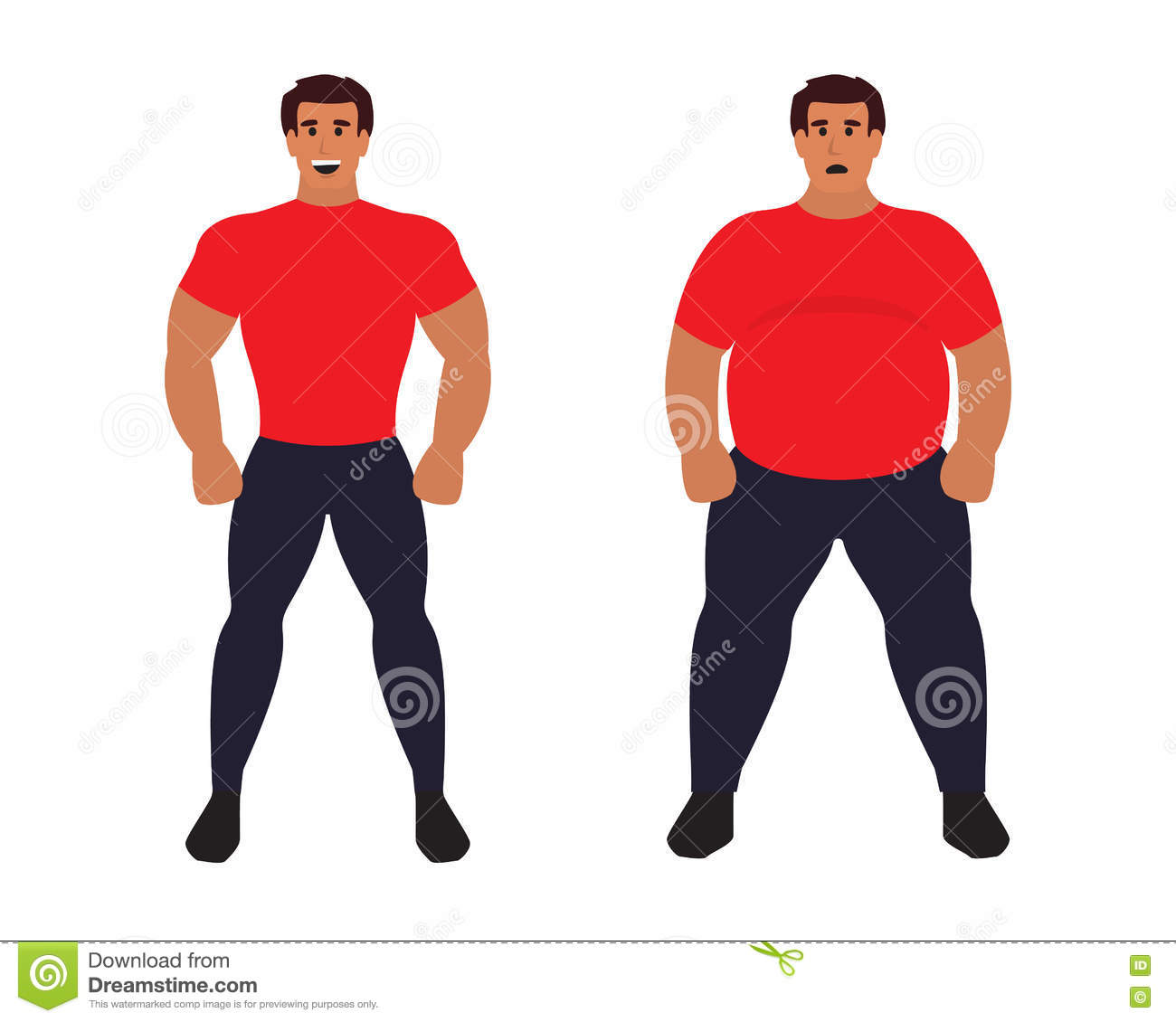 fat vs slim man healthy sport athletic body comparing to