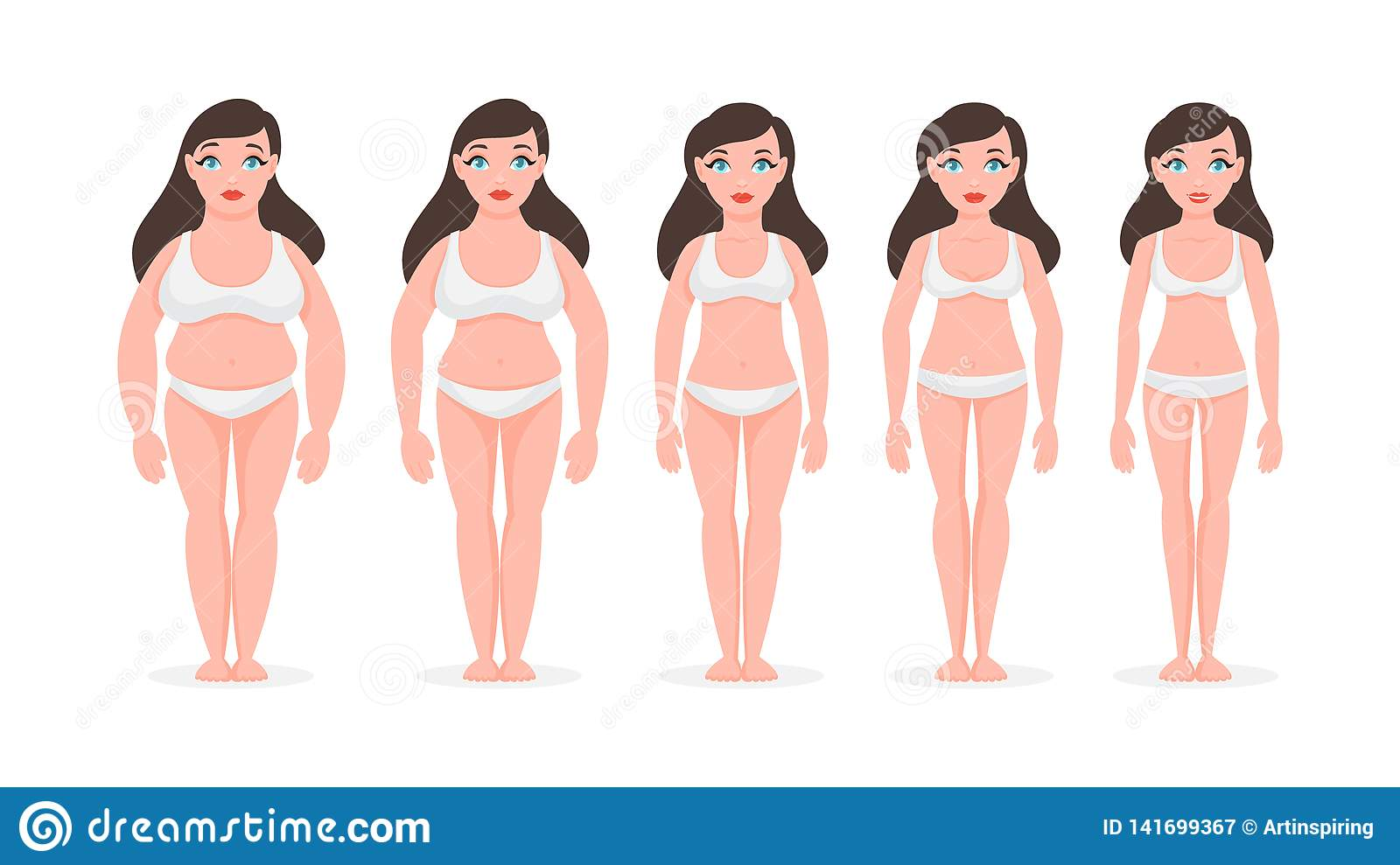 Fat Woman Become Slim Weight Loss Concept Stock Vector Illustration Of Ideal Body 141699367