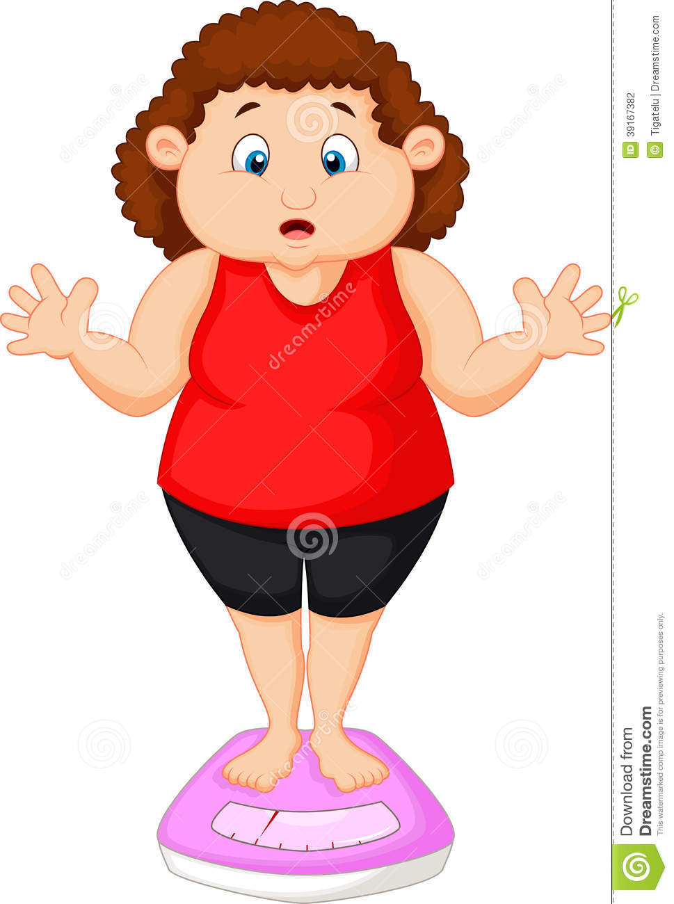 Fat Woman Cartoon Very Worried With Her Weight Stock