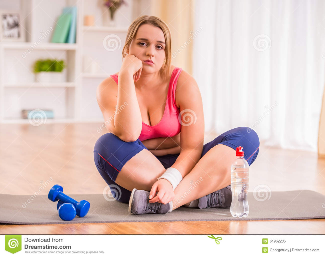 Fat Woman Dieting Stock Photo - Image: 61962235