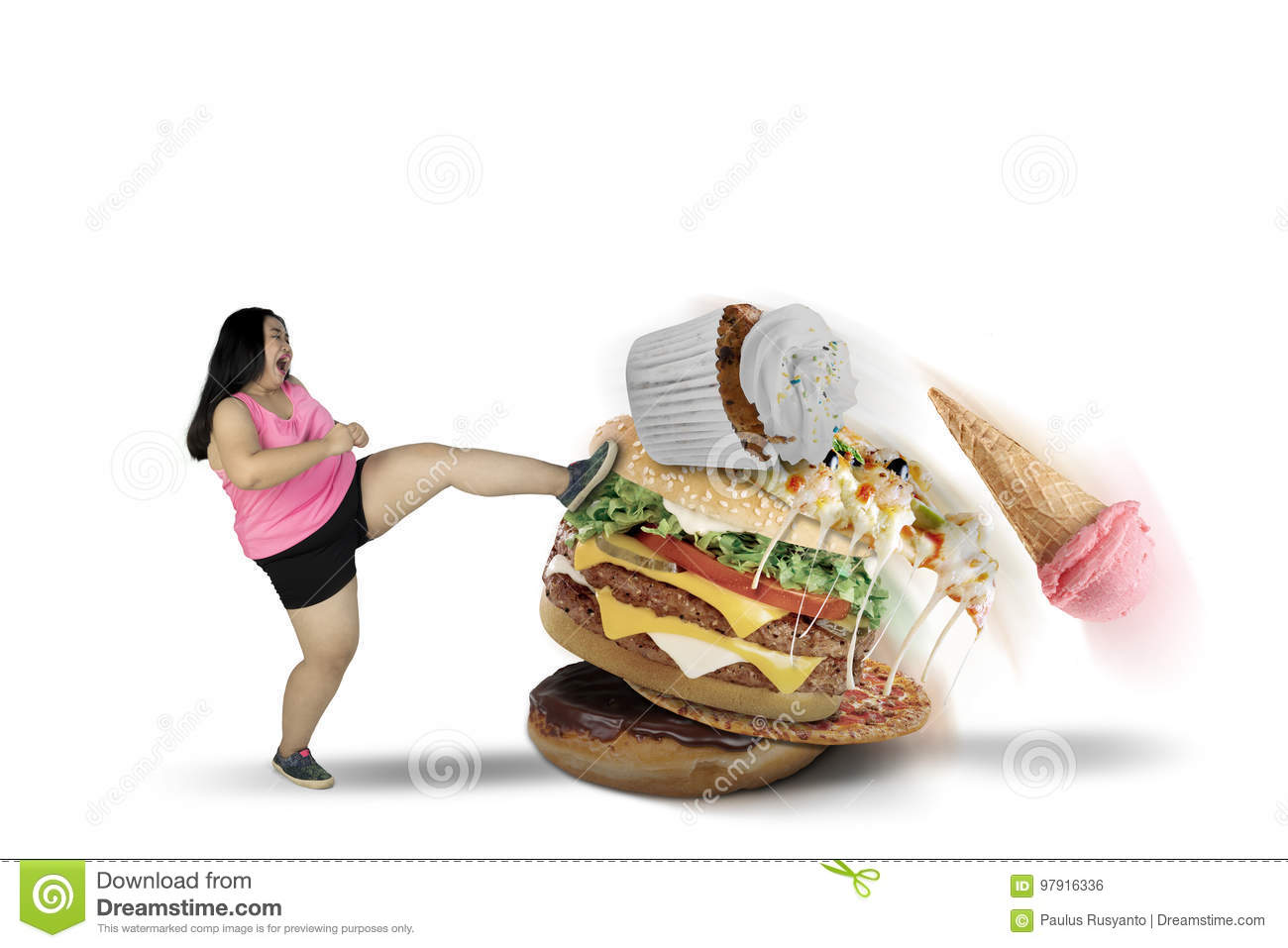 Fat woman kicking tasty foods on studio