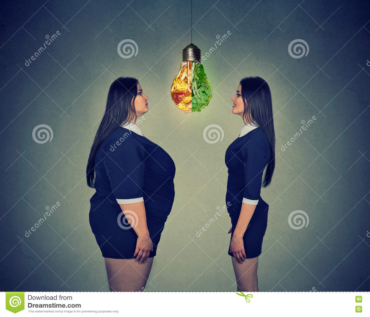 Fat woman looking at slim fit girl. Diet choice right nutrition concept