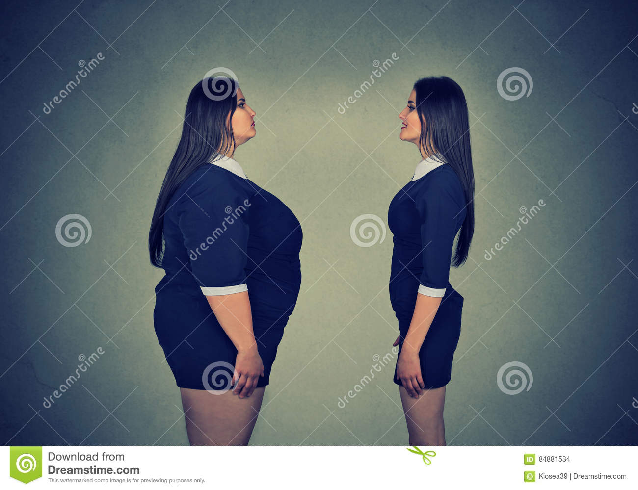 Fat woman looking at slim girl. Diet choice concept