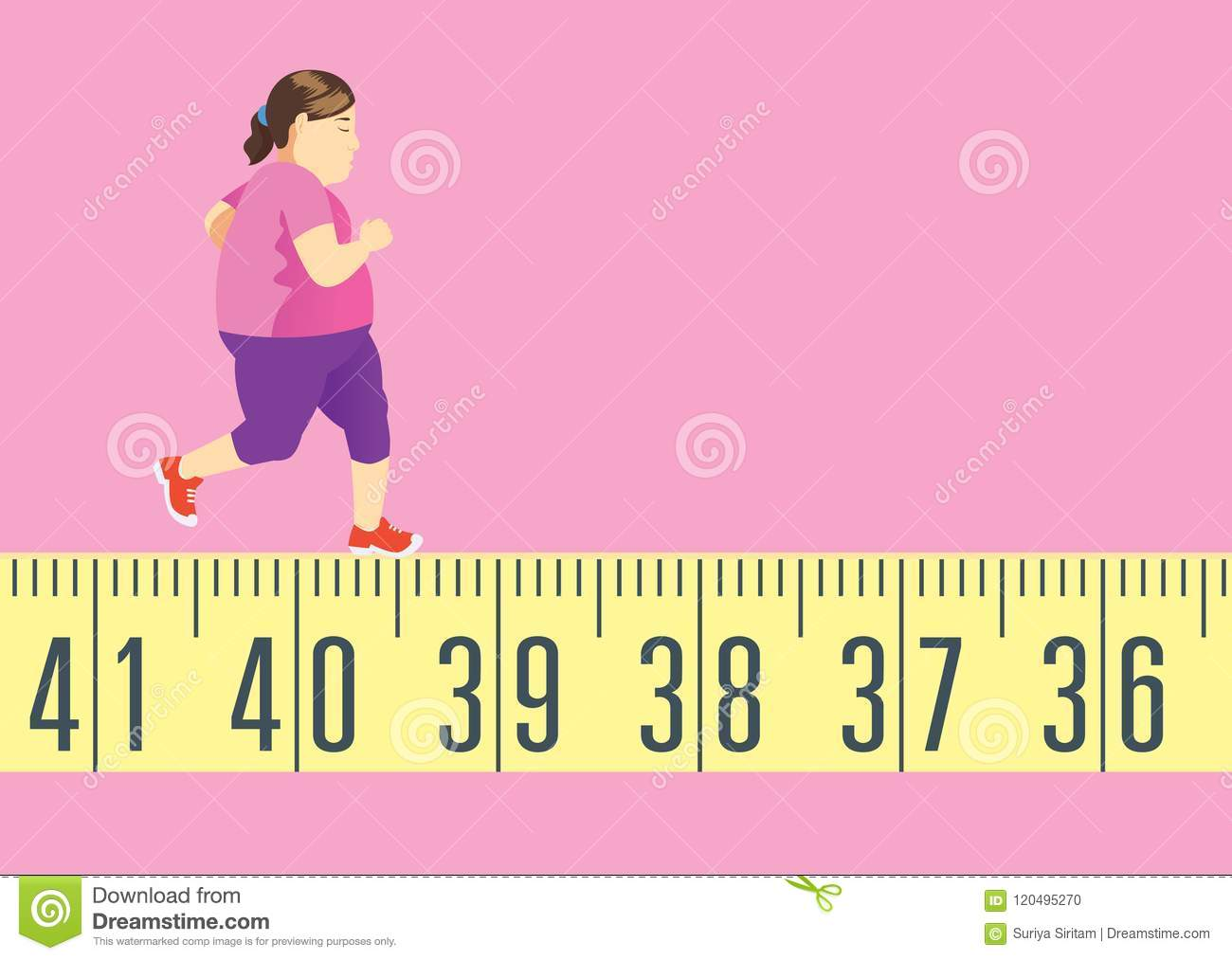Fat Woman Running On Tape Measure For Get In Shape And Lose