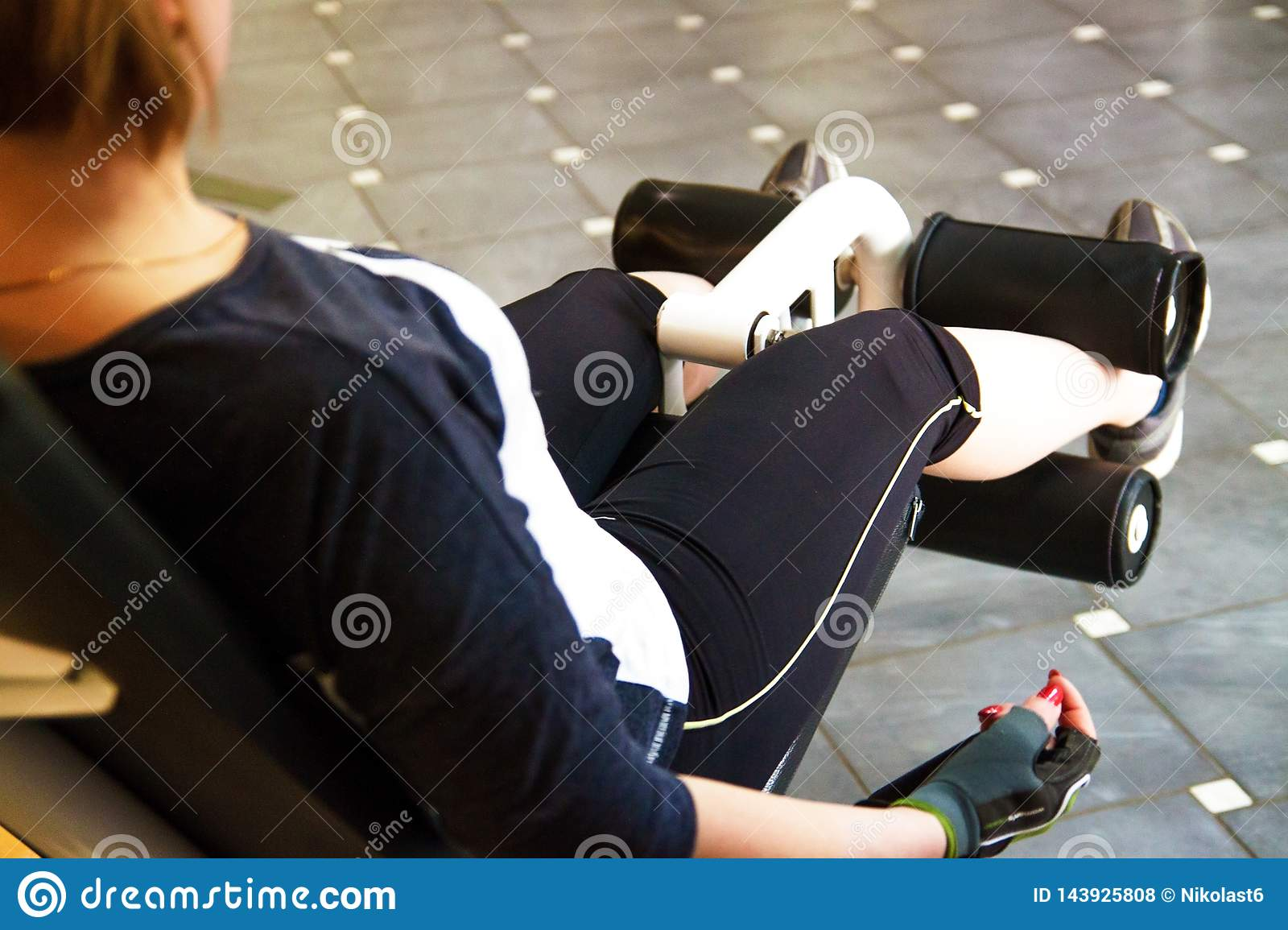 Calories burning, obese female person in sport club, fat-burning.