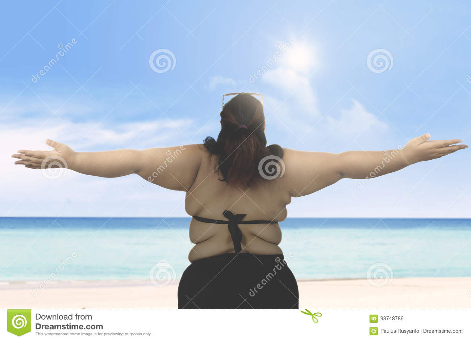 fat woman beach stock images - 674 photos