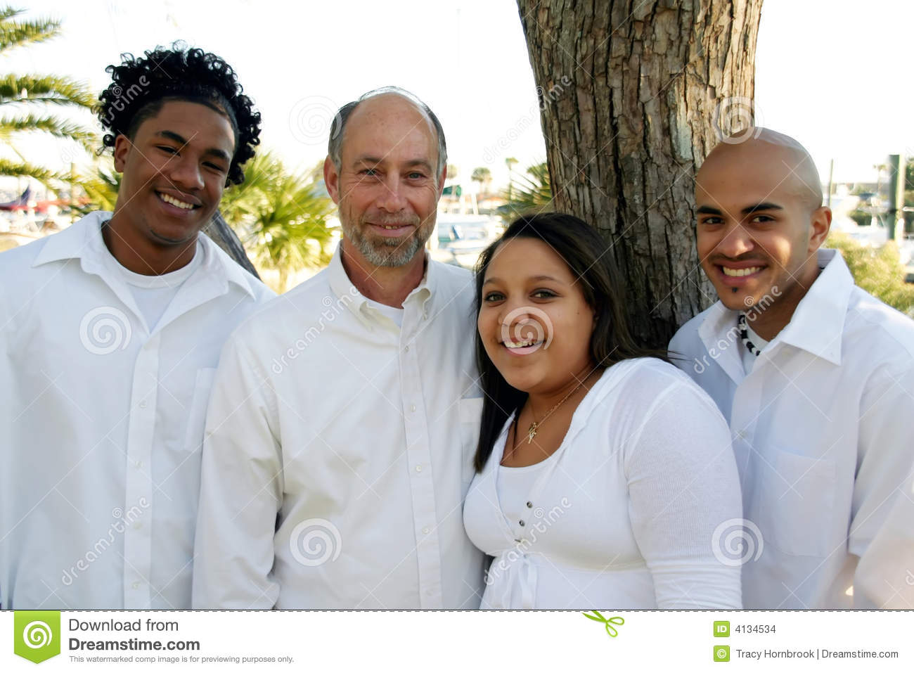Father With Adopted Mixed Race Children Stock Photo Image Of Parent Foster 4134534