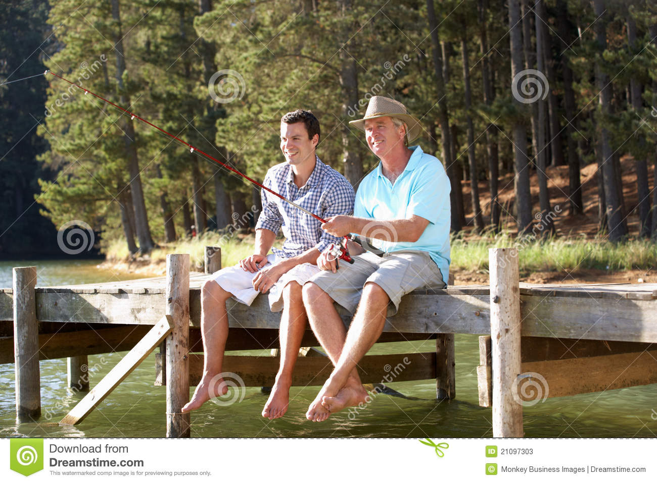 Father and adult son fishing in lake stock image image for Father son fishing