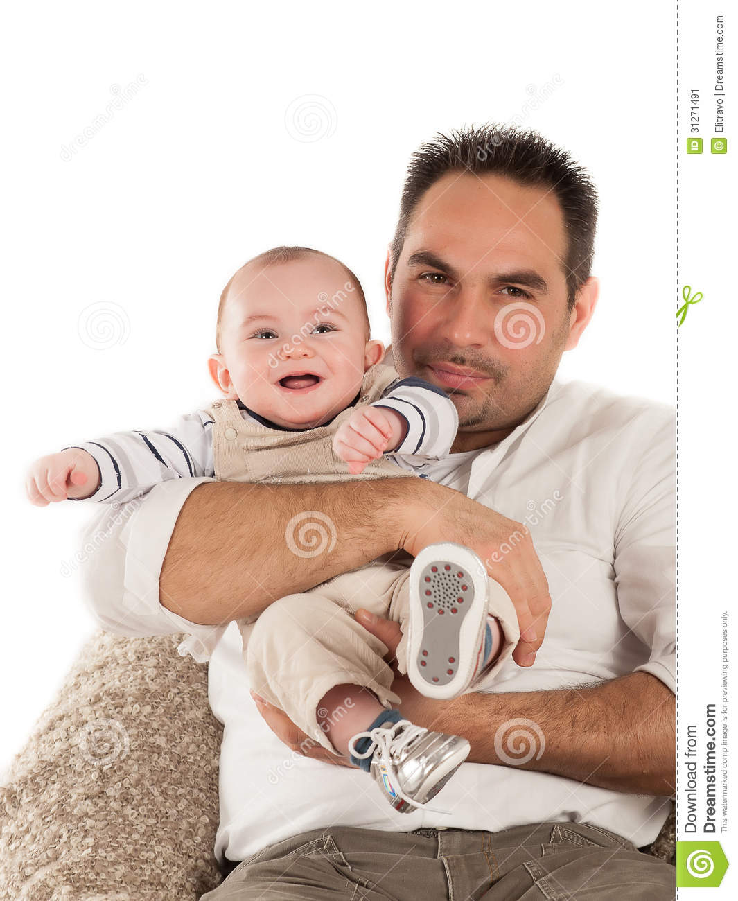 Father and baby on the white background