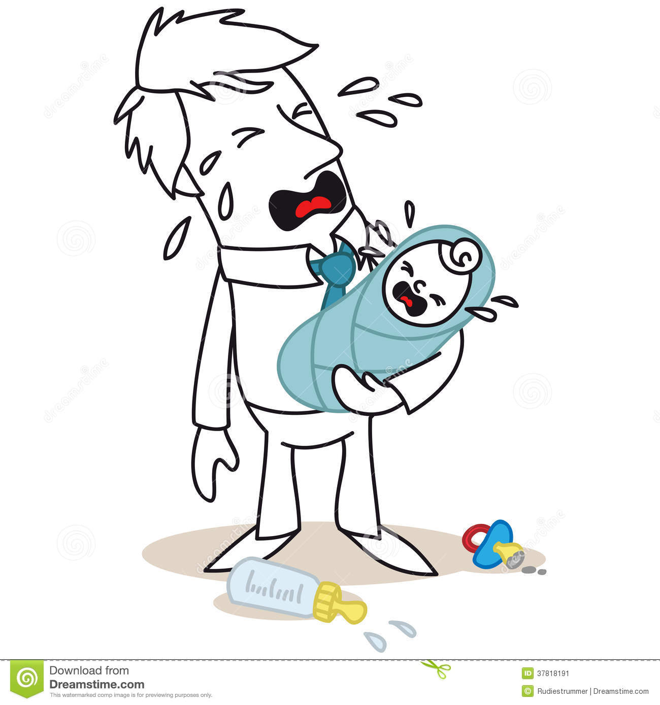 Cartoon Characters Crying : Father and baby both crying stock image