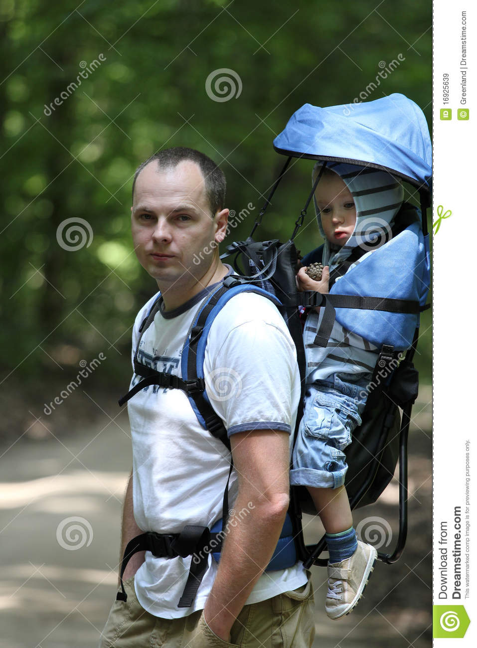 Father with baby in carrier royalty free stock images for Daddy carrier