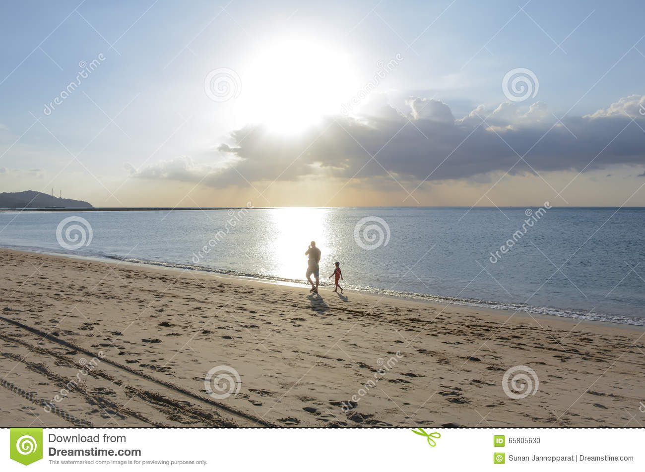 Father and the boy walking on the beach