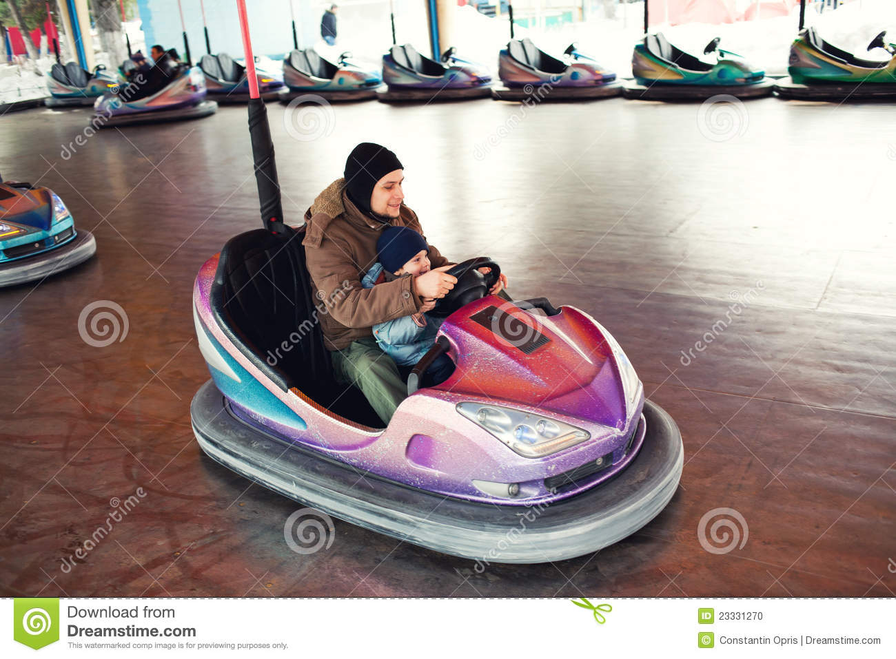 Father And Child Bumper Car Stock Photo