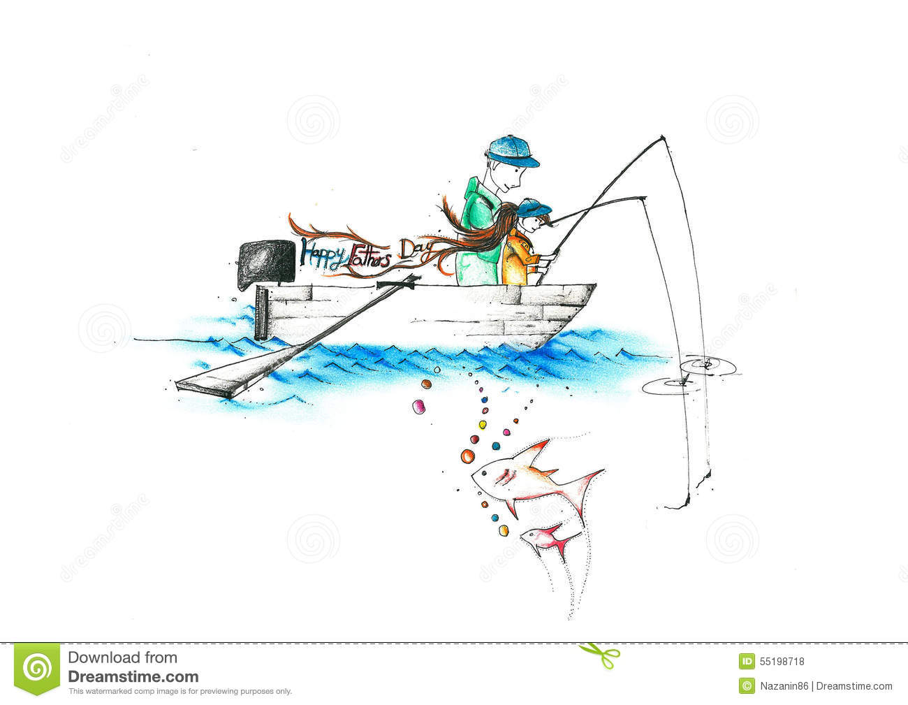 A Father And A Child Fishing On A Boat Writing Happy Fathers Day Stock Illustration - Image ...