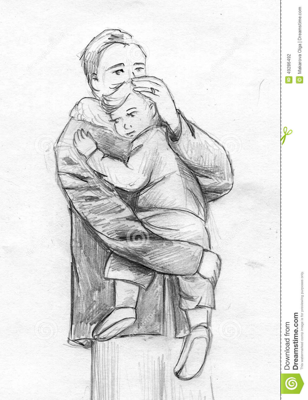 Hand drawn pencil sketch of a man gently holding a toddler
