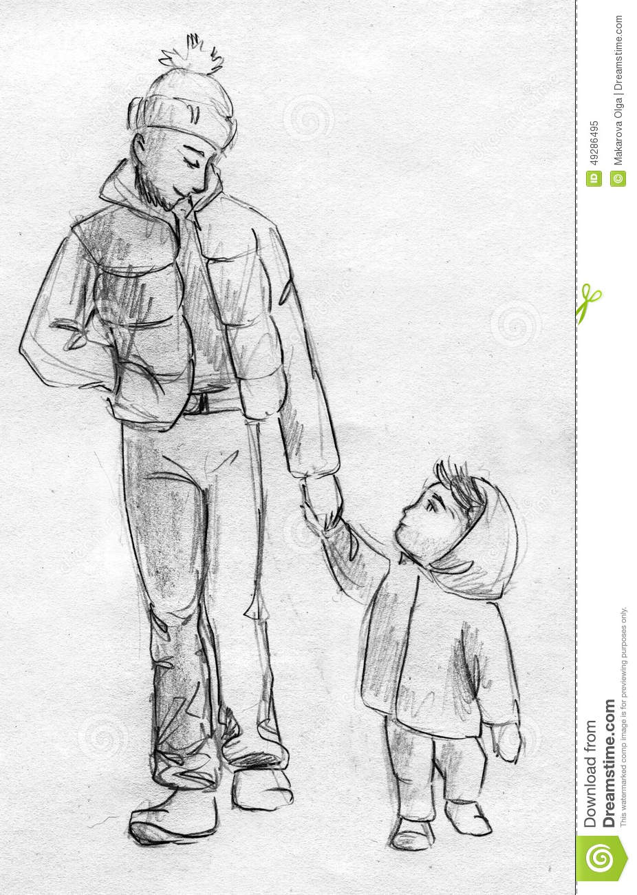 Hand drawn pencil sketch of a man walking with little child both are wearing warm clothes