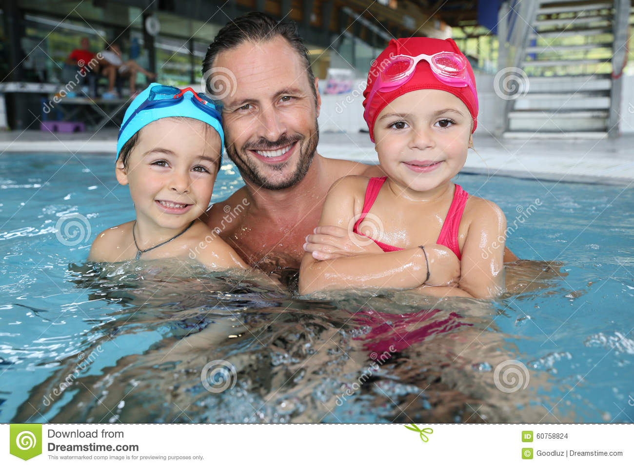 Father With Children Being Happy In Swimming Pool Stock Photo Image 60758824