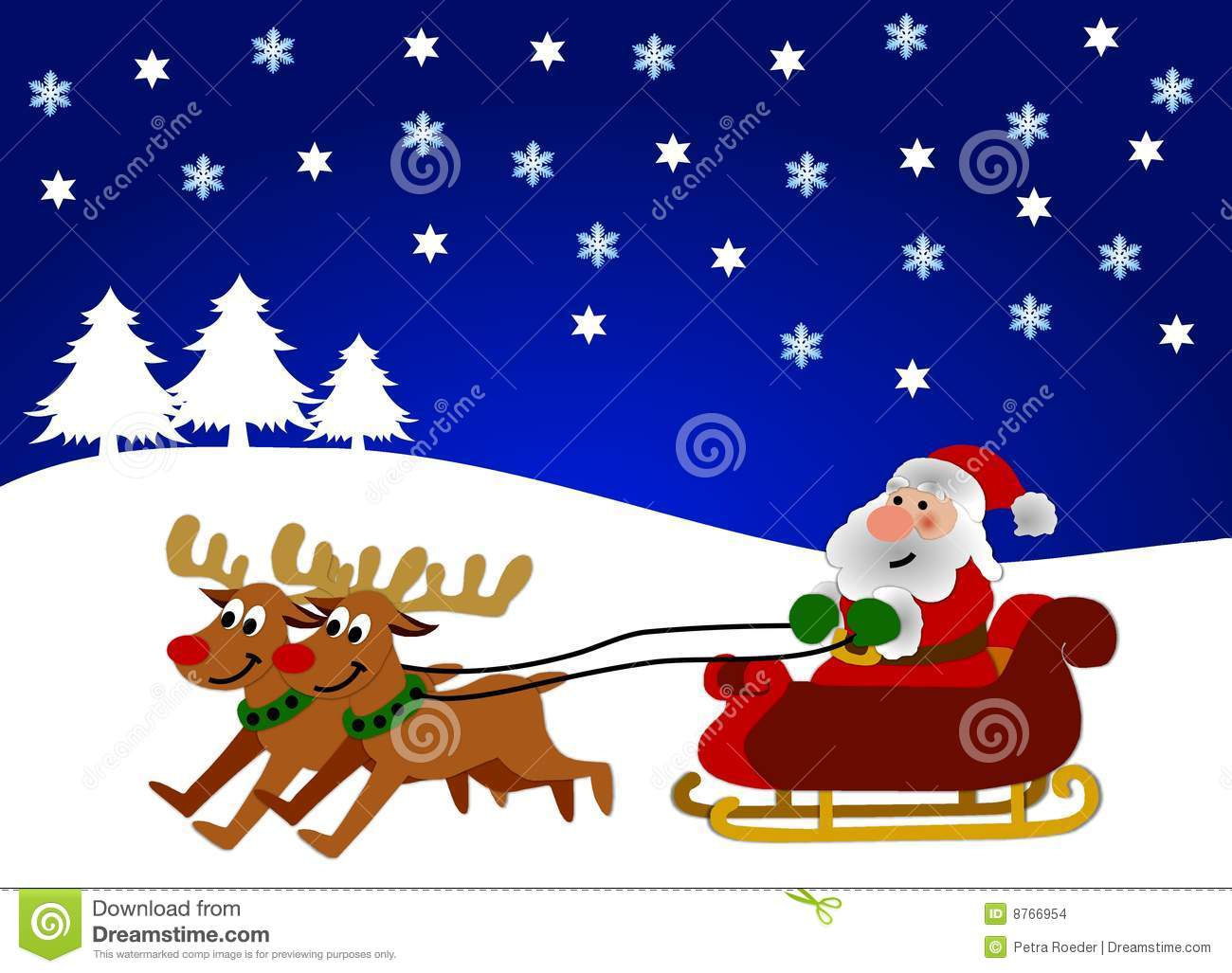 Illustration of reindeer pulling Santa Claus on sleigh in wintry ...