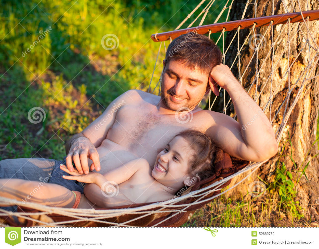 Father Dad Tickling Kid Daughter Child In Hammock Stock ...