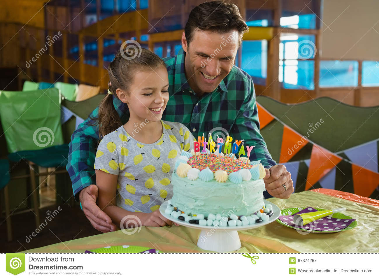 Father And Daughter With Birthday Cake Stock Image Image of cute