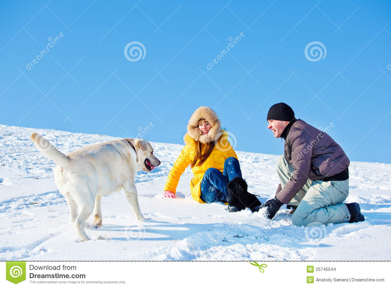Father, daughter and dog
