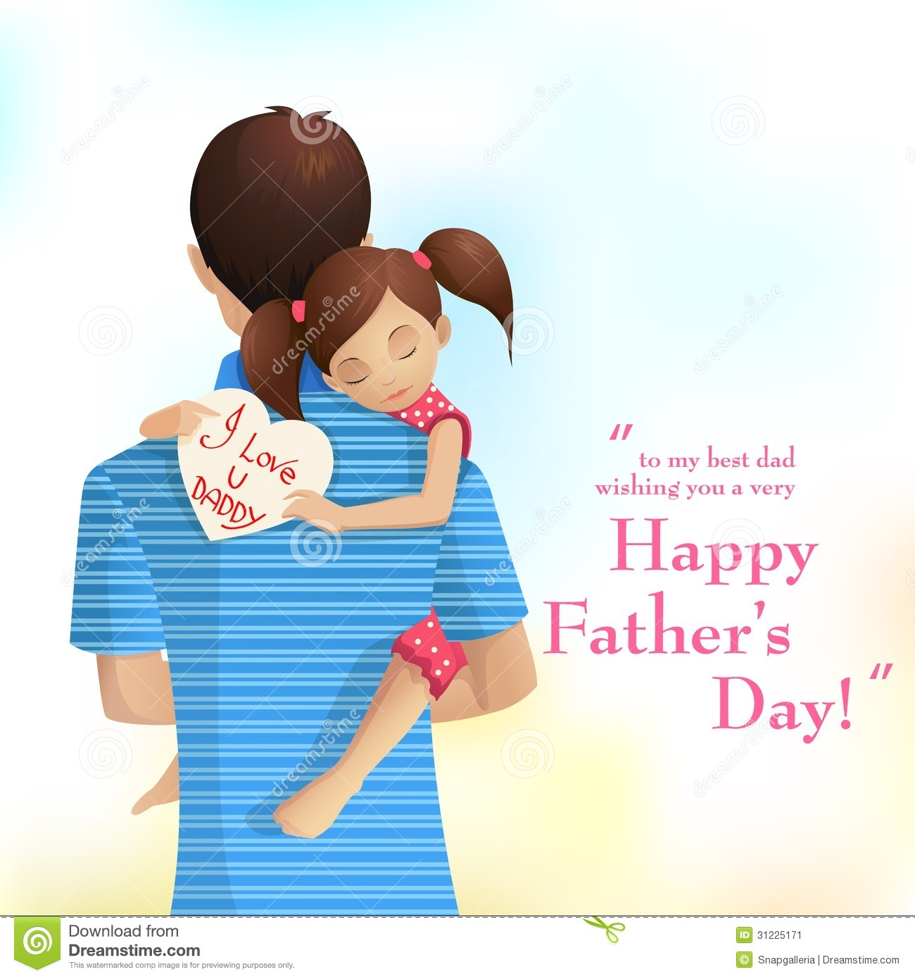 Easy to edit vector illustration of father holding daughter in Father ...