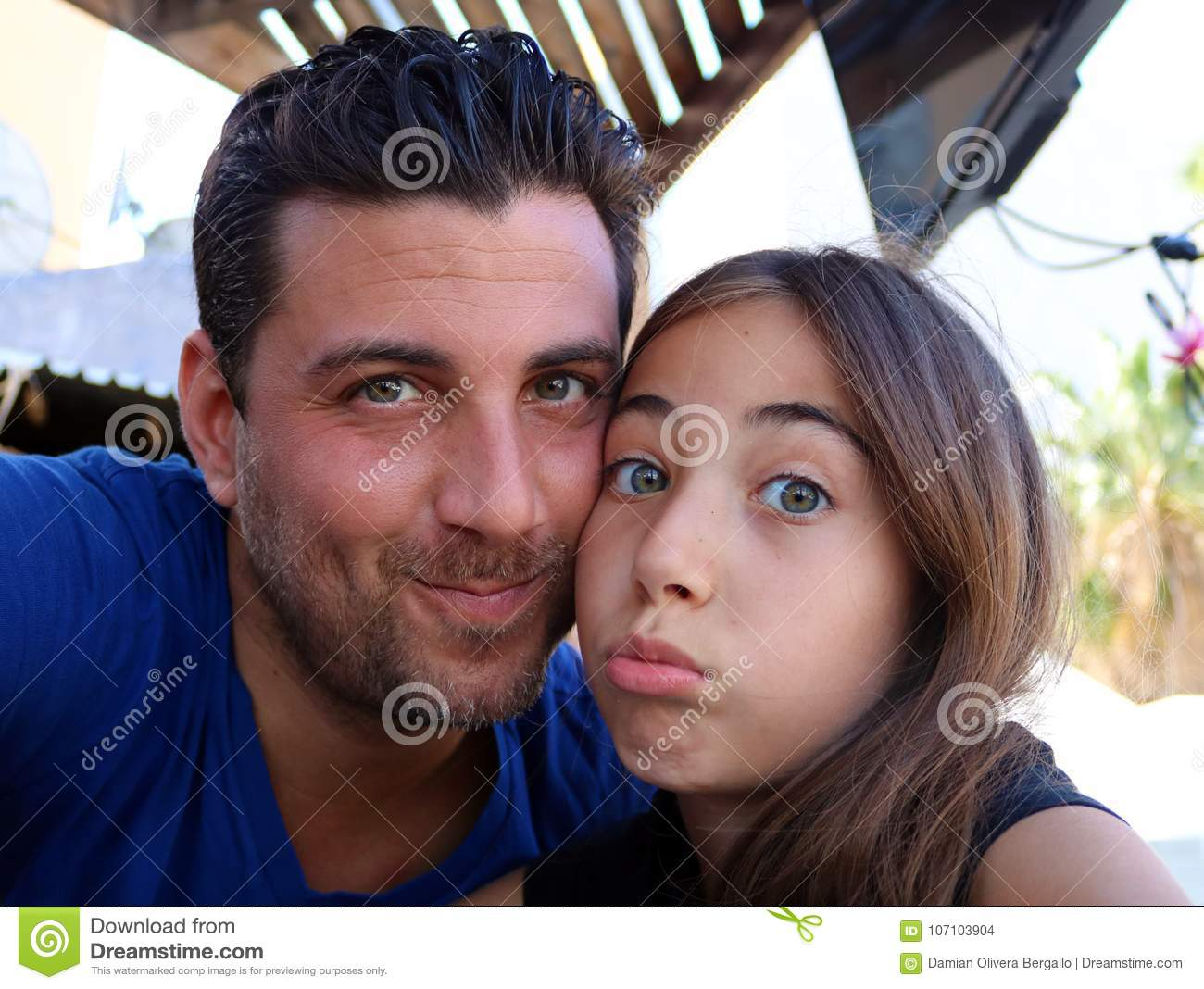 Father and daughter happy faces gorgeous portraits happiness family