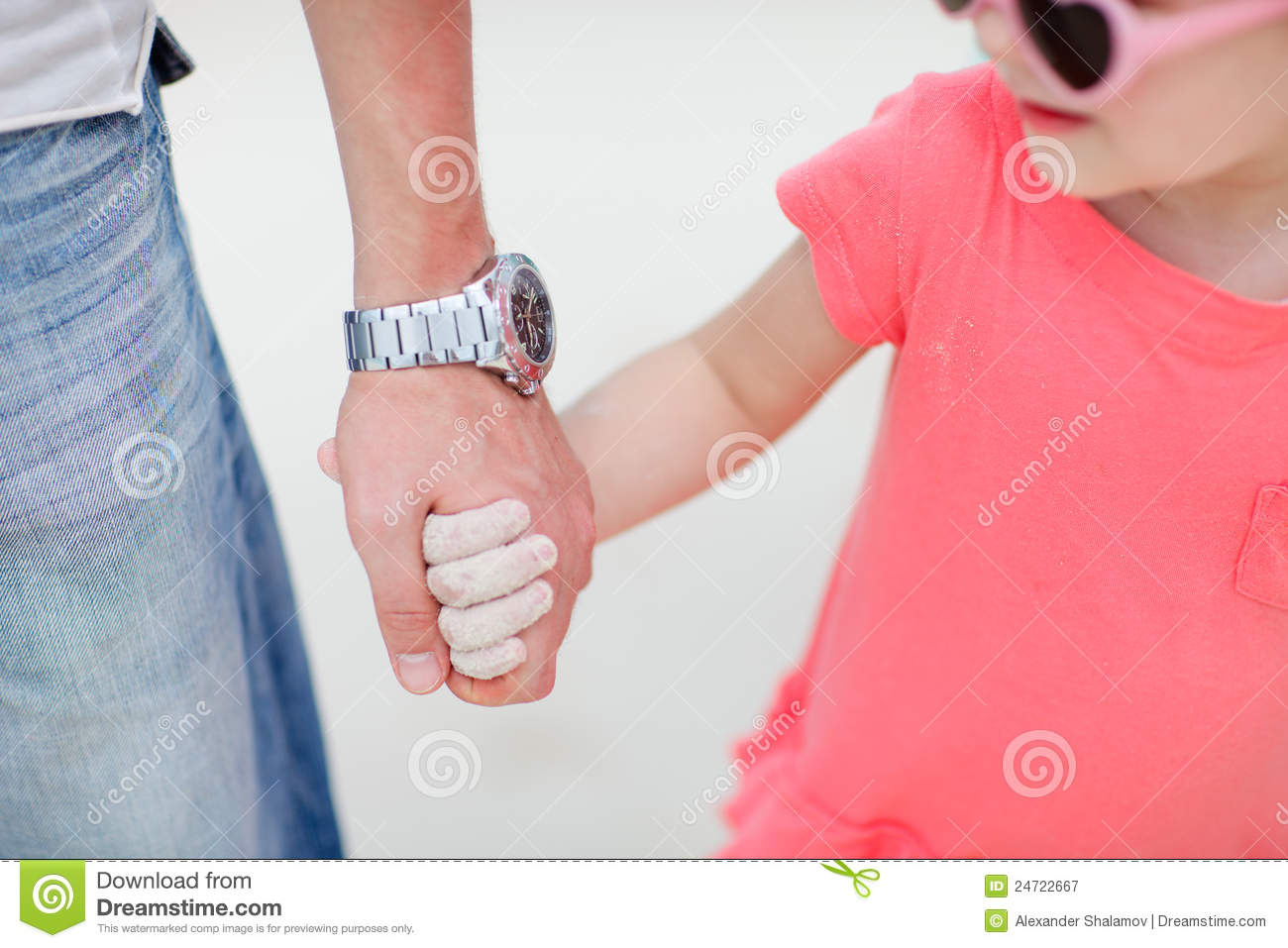 Father And Daughter Holding Hands Stock Image Image Of Closeup