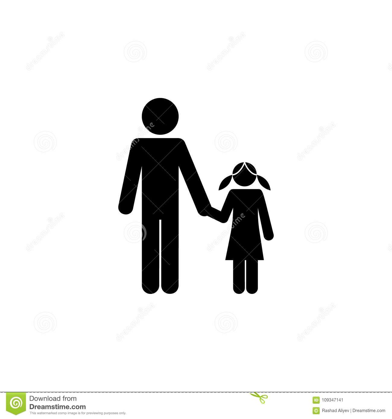 Father And Daughter Holding Hands Icon Elements Of Happy Family