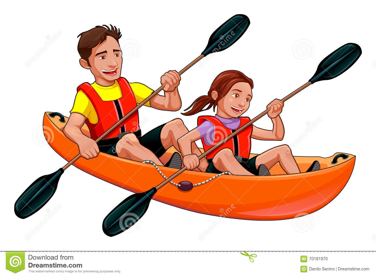 Father and daughter on the kayak