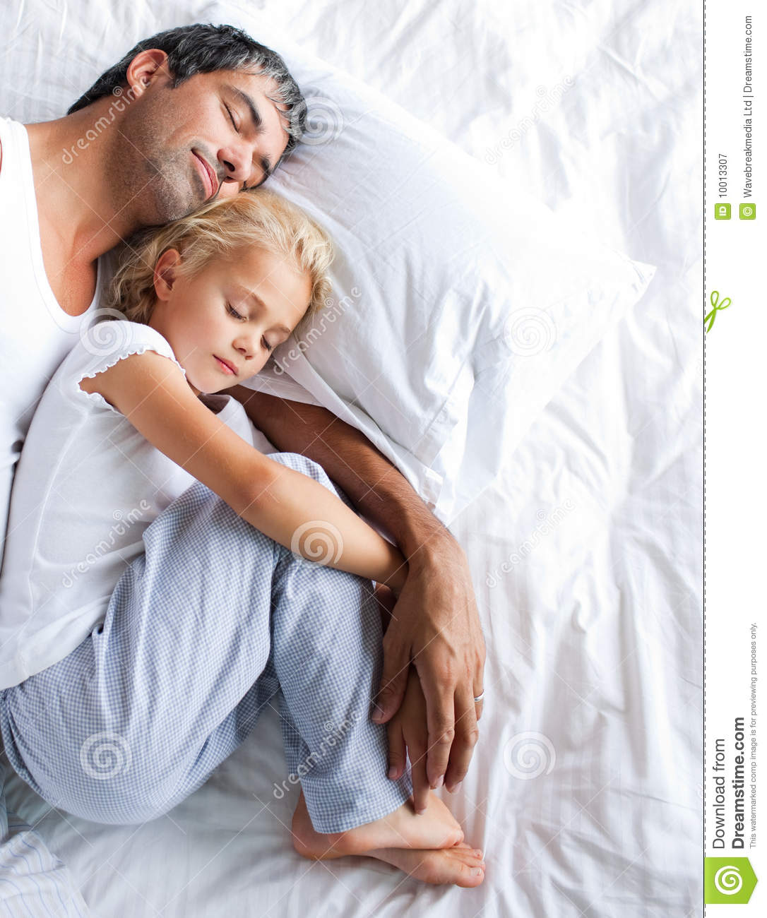 Father And Daughter Sleeping On Bed Royalty Free Stock ...