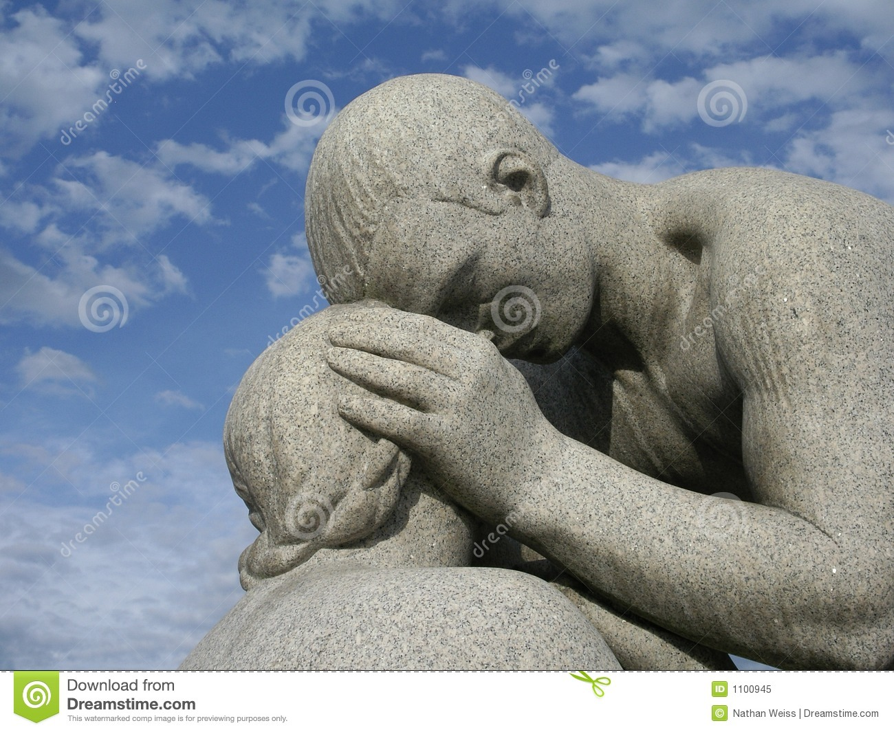 father  daughter statue royalty free stock photo