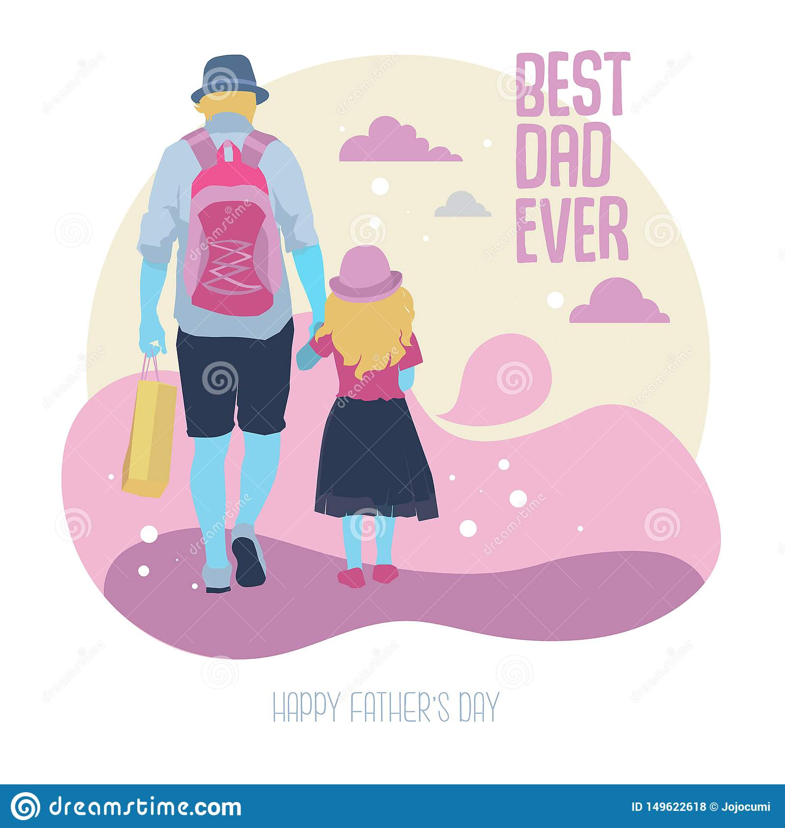 Father and daughter Walk together Illustration