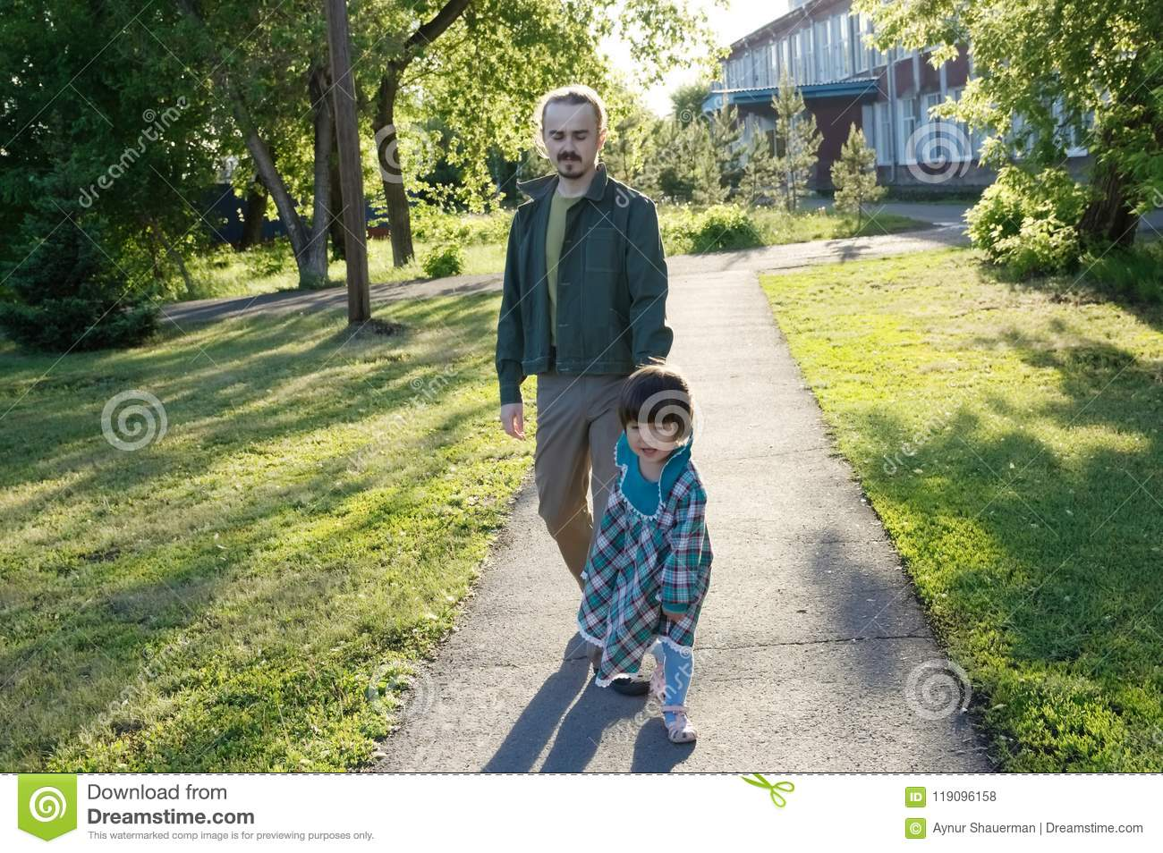 Apologise, but Dad with daughter walking necessary
