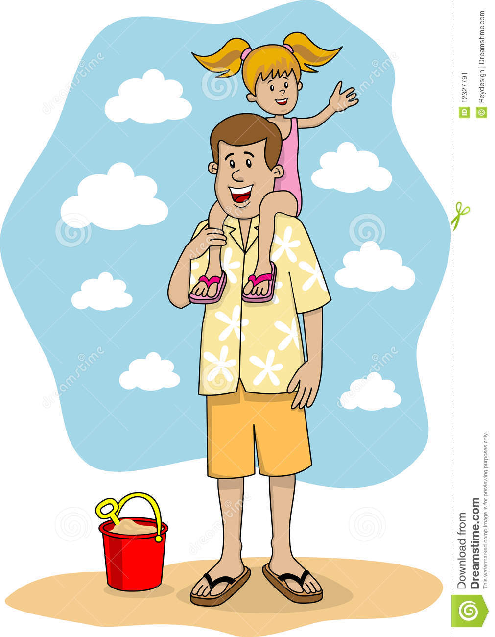Father And Daughter Waving Stock Image - Image 12327791-7752