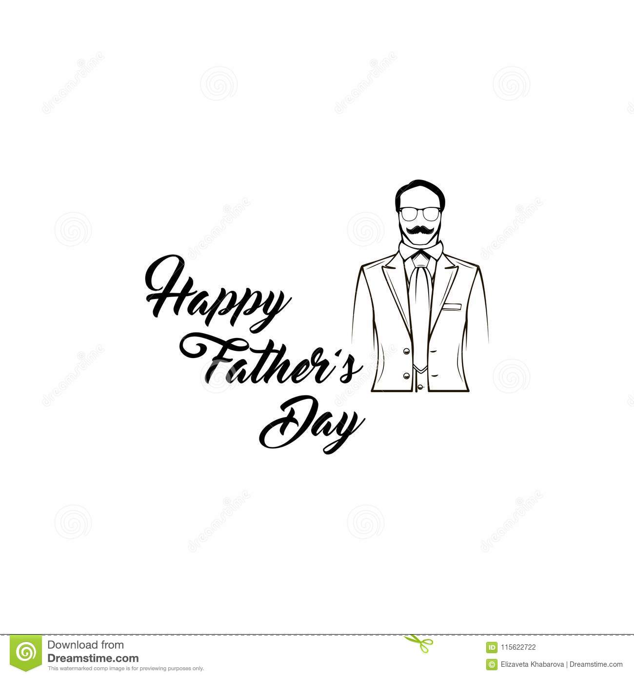 Father day greeting card male silhouette suit necktie happy father day greeting card male silhouette suit necktie happy fathers day lettering m4hsunfo
