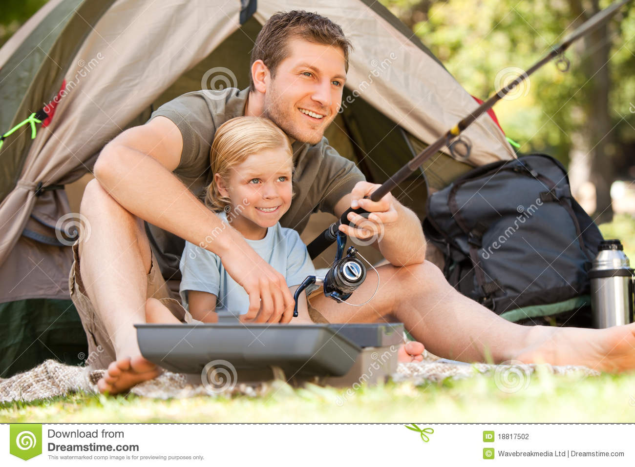 Father fishing with his son stock photography image for Campsites with fishing