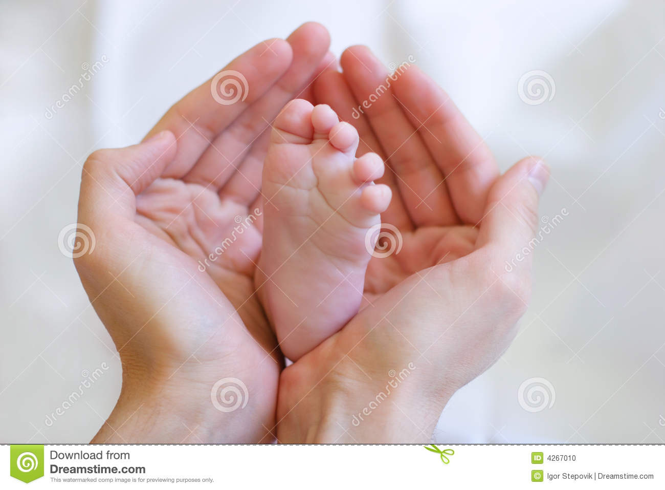 Father Gently Hold Baby S Leg In Your Hands Stock Photo