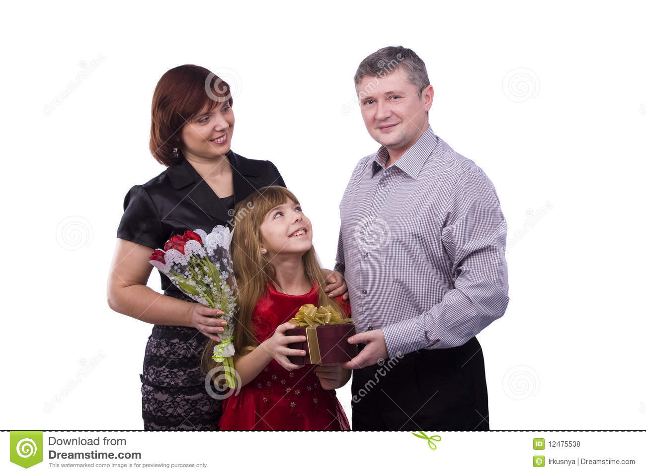 Father is giving gift daughter and mother
