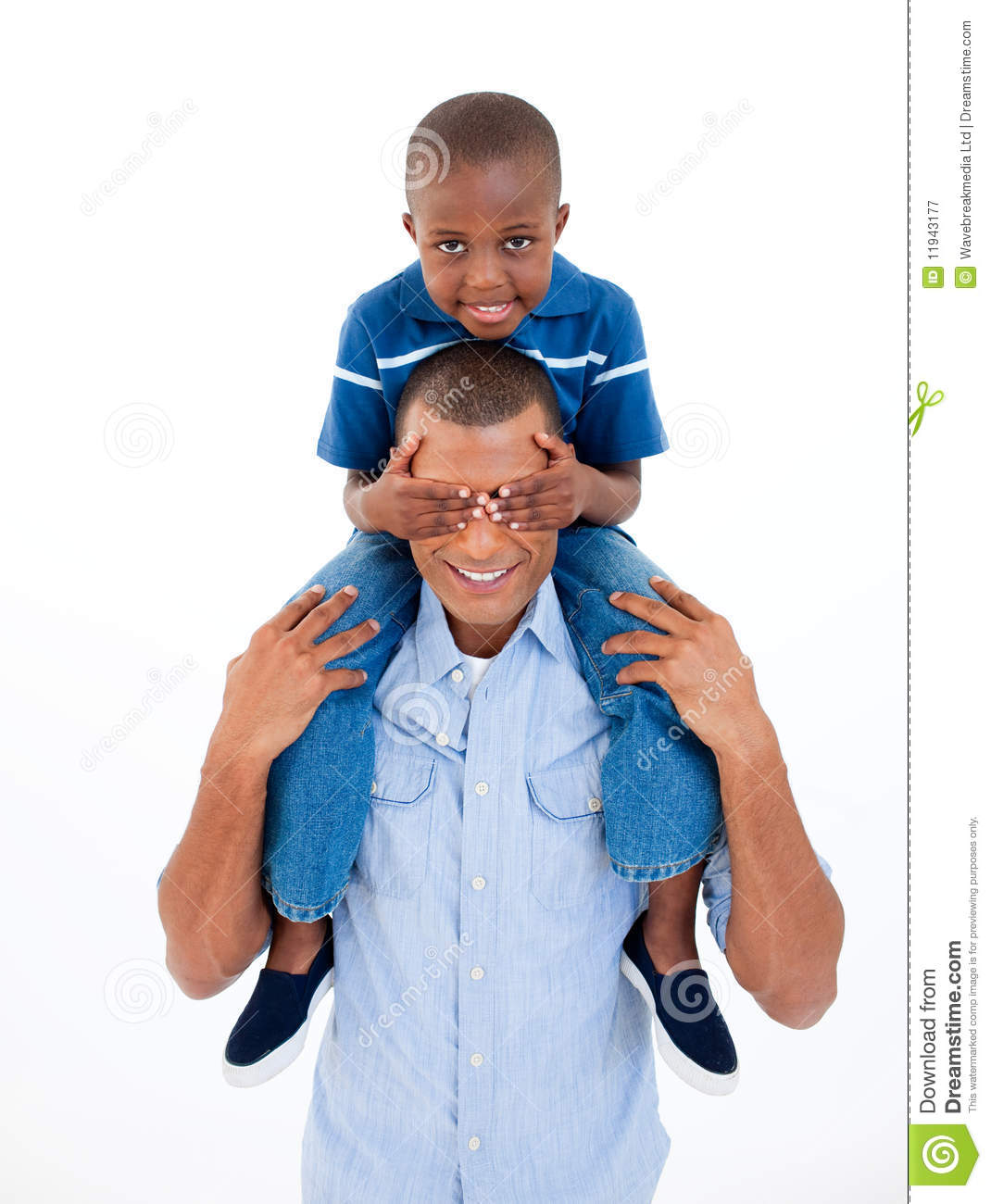 Father Giving Son Piggyback Ride Stock Image