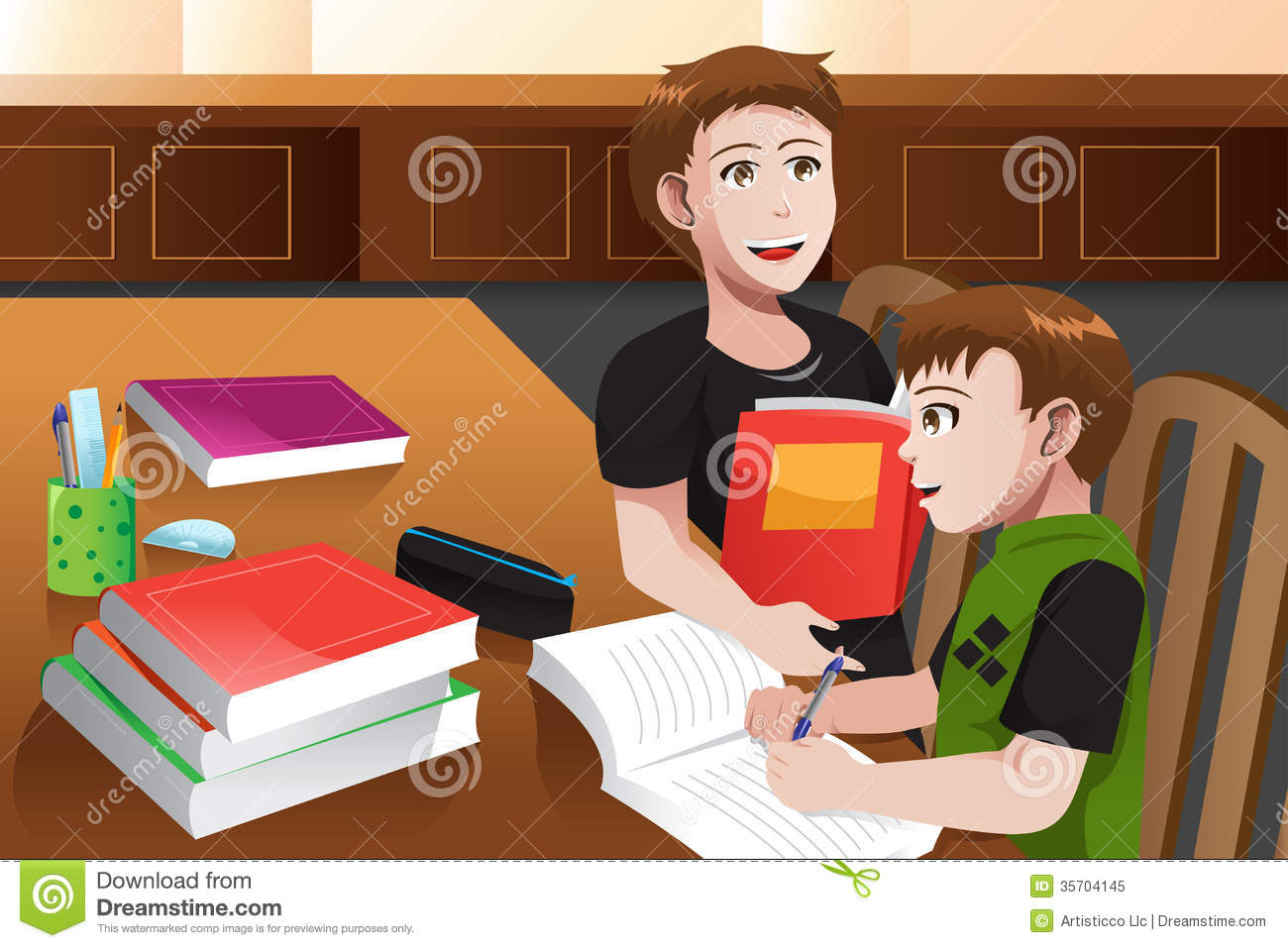 Father Helping His Son Doing Homework Royalty Free Stock Photo - Image ...